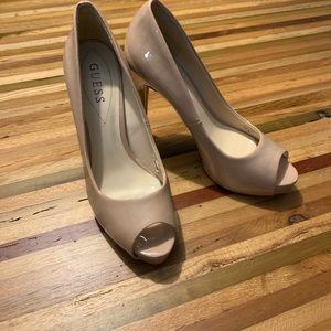 Jessica Simpson peep toe heels in nude size 7.5